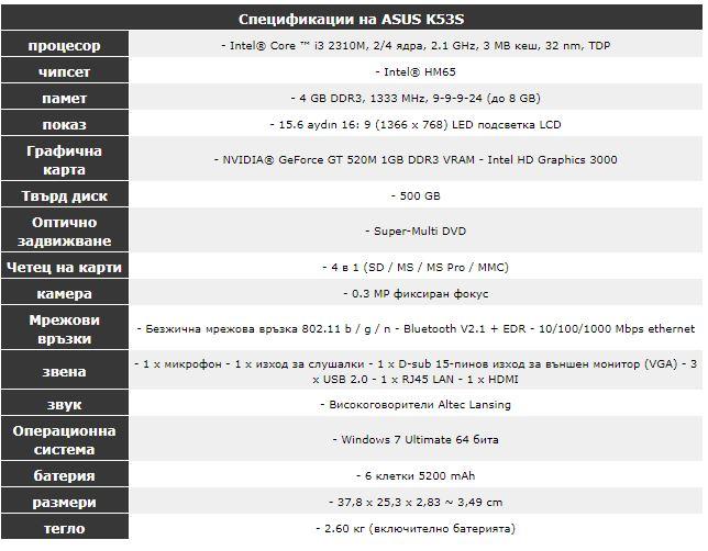 specifikaciya, asus , k53s
